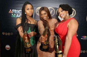 "Chinny Onwugbenu, Genvieve Nnaji, Chichi Nwoko winners of Best Movie - West Africa for ""Road To Yesterday"" (Africa Magic)"