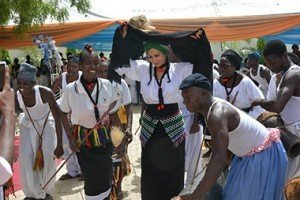 Sally Mbanefo dancing with a cultural dance troupe in Bachama Kingdom, Adamawa State