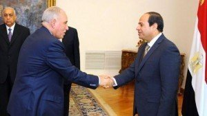 Mr Zind (left) was sworn in as justice minister by President Abdel Fattah al-Sisi in 2015