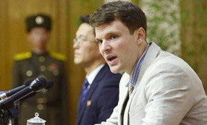 Otto Frederick Warmbier, a University of Virginia student who has been detained in North Korea since early January, during a news conference in Pyongyang, North Korea. Pic: REUTERS/Kyodo