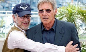 United States director Steven Spielberg (L) positions cast member Harrison Ford at a photocall for the film''Indiana Jones and the Kingdom of the Crystal Skull'' at the 61st Cannes Film Festival May 18, 2008.