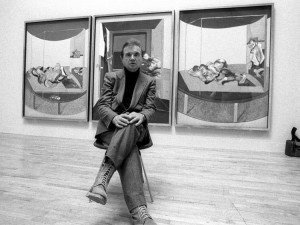 Francis Bacon pictured at one of his exhibitions in 1985