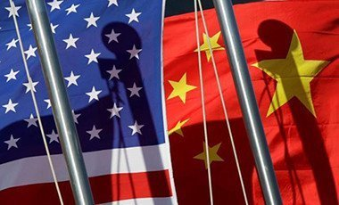 National flags of the US and China