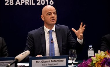 Newly-appointed president of FIFA Gianni Infantino speaks during a press conference in Bangkok on April 28, 2016. Infantino is in the Thai capital to participate in celebrations to mark the 100th anniversary of the Football Association of Thailand. Pix: AFP