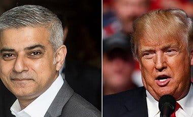 London Mayor Sadiq Khan and DOnald Trump