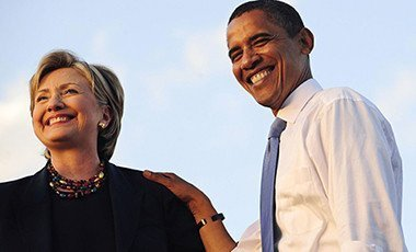 US President, Barack Obama with Hillary Clinton