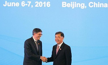 United States Treasury Secretary Jack Lew shakes hands with China's Vice Premier Wang Yang before the Economic Dialogue of the 8th round of U.S.-China Strategic and Economic Dialogues in Beijing June 6, 2016. Pix: Reuters
