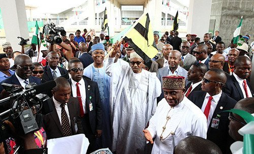 Buhari with Saraki, Dogara, Amechi_during railway commissioning