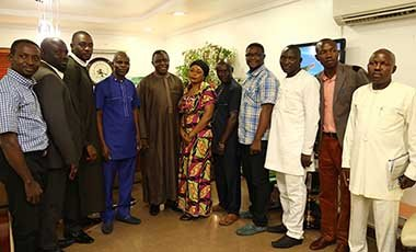 National President, Youth wing of Christian Pentecostal Fellowship of Nigeria (CPFN) Evangelist. Imaobong Odohofreh, (4th left); Executive Secretary Nigerian Christian Pilgrim Commission (NCPC), Tor Uja, with other executive members of the CPFN during their courtesy visit to the NCPC boss in Abuja.