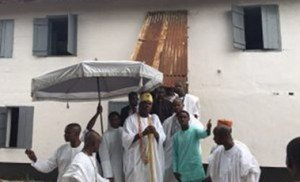 Ooni of Ife at the First Storey Building in Badagry