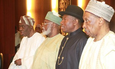From left, Former Chairman, Interim National Government, Chief Ernest Shonekan; Former Head of State, Gen. Abdulsalami Abubakar; Former President Goodluck Jonathan and Former Chief Justice of the Federation, Justice Muhammad Uwais during the National Council of States chaired by President Muhammadu Buhari at the Aso Chambers, State House, Abuja.