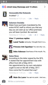 Screen munch of the NTDC staff threat on Wale Ojo-Lanre