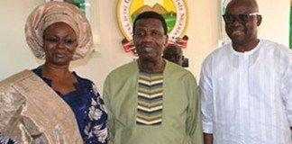 Pastor Adeboye, Fayose and wife, Feyi