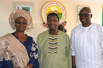 Pastor Adeboye, Fayose and wife, Feyi
