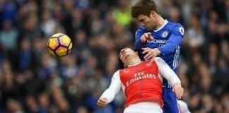 Marcos Alonso scores the opening goal but catches Hector Bellerin with his elbow