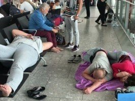 passengers sleeping at heathrow
