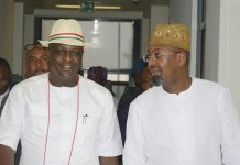 Ogbeide-Ihama Omoregie (left) with Mr. Folorusho Coker on domestic tourism