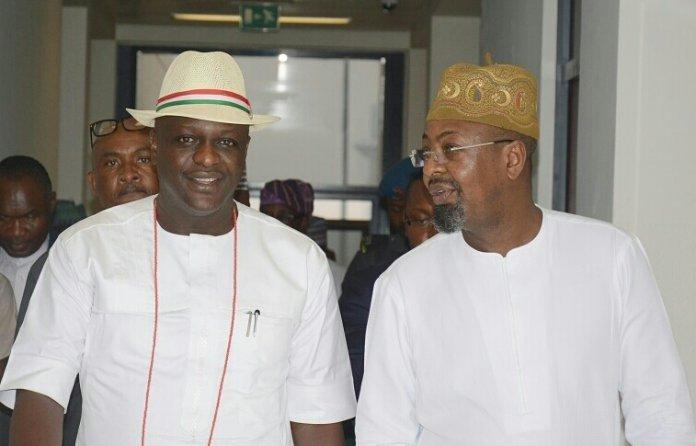 Ogbeide-Ihama Omoregie (left) with Mr. Folorusho Coker on domestic tourism