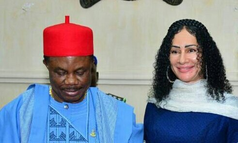 Sally Mbanefo with Chief Willie Obiano