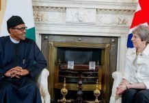 Muhammadu buhari and theresa may discussing security in Nigeria