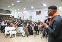 Dr. Olusegun Mimiko addressing supporters during Conversation With Mimiko programme