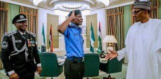Muhammadu Buhari and Inspector General of Police Abubakar Adamu Mohammed