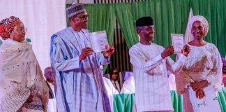 buhari, osinbajo receives certificate of return
