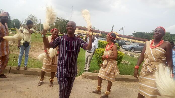Wale Ojo-Lanre with Ekiti State Cultural Troupe