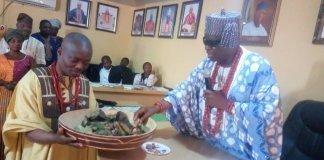Wale Ojo-Lanre with Elekole of Ikole, Oba Adewumi Ajibade