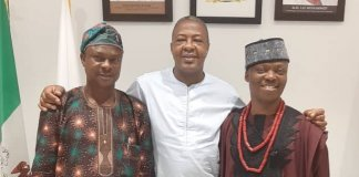 Director-General, NTDC, Mr Folorunso Folarin Coker (middle); Director- General, Ekiti State Council for Arts and Culture, Ambassador Wale Ojo-Lanre (right) and the Permanent Secretary of the Council, Alhaji Ganiyu Ibrahim.
