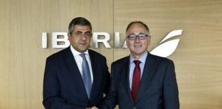 Secretary-General of the World Tourism Organization (UNWTO), Zurab Pololikashvili, and the CEO of Iberia, Luis Gallego