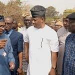 Hon Segun Dokun Odebunmi signing the condolence register of Late Prince Atilade Atoyebi former Director at FRCN Ibadan.