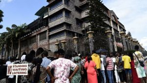 Large crowds have been mourning outside the headquarters of TB Joshua's church